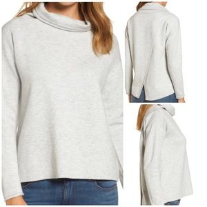 Vineyard Vines merino funnel neck split back top
